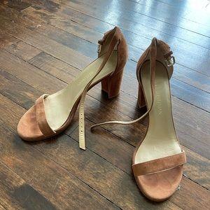 Stuart Weitzman brown block heel sandals 7
